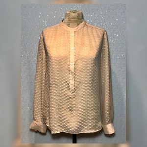 J.Crew Silk Dot Dash Blouse Peach Sheer Size 4